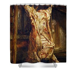 The Slaughtered Ox Shower Curtain by Rembrandt Harmenszoon van Rijn