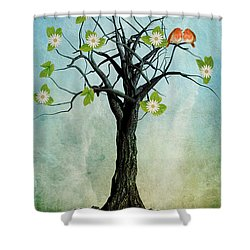 The Song Of Spring Shower Curtain by John Edwards