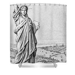 The Statue Of Liberty New York Shower Curtain by American School