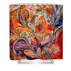 The Story Of Wild Iris Shower Curtain by Elena Kotliarker