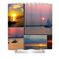 The Sunsets Of Long Island Shower Curtain by Dora Sofia Caputo Photographic Art and Design
