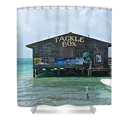 The Tackle Box Sign Shower Curtain by Kristina Deane