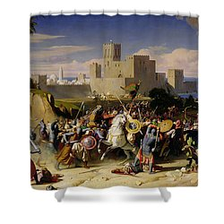 The Taking Of Beirut By The Crusaders Shower Curtain by Alexandre Jean Baptiste Hesse