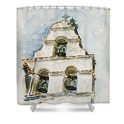 The Three-bell Campanario At Mission San Juan Bautista  Shower Curtain by Zaira Dzhaubaeva