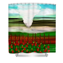 The Tomatoes And The Tornado Shower Curtain by Andee Design