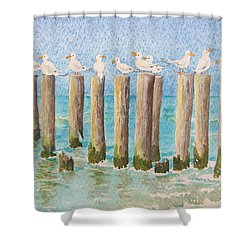 The Town Meeting Shower Curtain by Mary Ellen Mueller Legault
