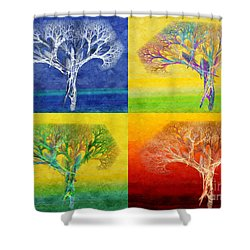 The Tree 4 Seasons - Painterly - Abstract - Fractal Art Shower Curtain by Andee Design