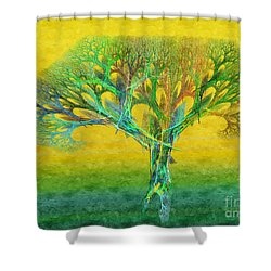 The Tree In Summer At Sunrise - Painterly - Abstract - Fractal Art Shower Curtain by Andee Design