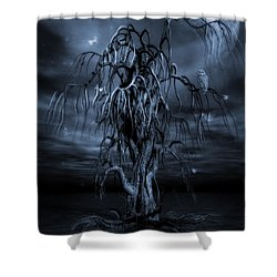 The Tree Of Sawols Cyanotype Shower Curtain by John Edwards