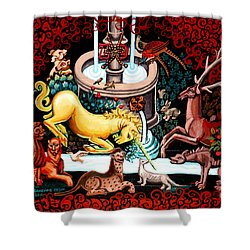 The Unicorn Purifies The Water Shower Curtain by Genevieve Esson