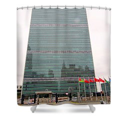 The United Nations Shower Curtain by Ed Weidman