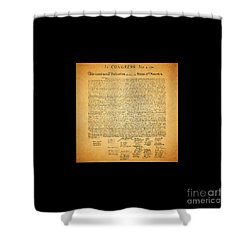 The United States Declaration Of Independence - Square Black Border Shower Curtain by Wingsdomain Art and Photography