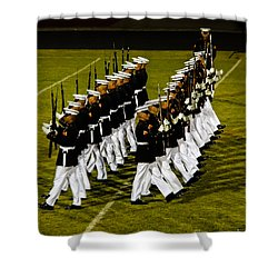 The United States Marine Corps Silent Drill Platoon Shower Curtain by Robert Bales