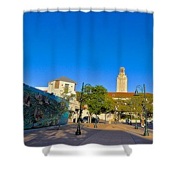 The University Of Texas Tower Shower Curtain by Kristina Deane