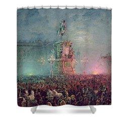 The Unveiling Of The Nicholas I Memorial In St. Petersburg Shower Curtain by Vasili Semenovich Sadovnikov