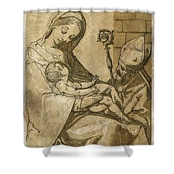 The Virgin And Child Shower Curtain by Aged Pixel