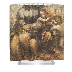The Virgin And Child With Saint Anne And The Infant Saint John The Baptist Shower Curtain by Leonardo Da Vinci