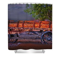 The Wagon Shower Curtain by Gunter Nezhoda