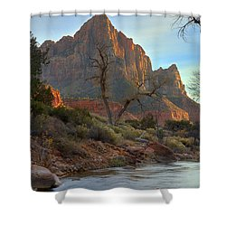 The Watchman In Winter-3 Shower Curtain by Alan Vance Ley