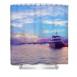 The Waters Are Calm Painting  Shower Curtain by Jon Neidert