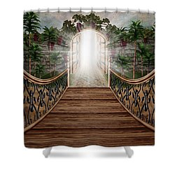 The Way And The Gate Shower Curtain by April Moen