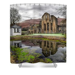 The Welsh Abbey Shower Curtain by Adrian Evans