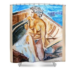 The Woman Rower Shower Curtain by Jasna Dragun
