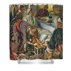 The Woman With The Box Of Ointment Shower Curtain by Harold Copping