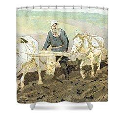 The Writer Lev Nikolaevich Tolstoy Shower Curtain by Ilya Efimovich Repin