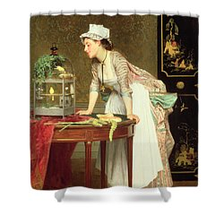 The Yellow Canaries Shower Curtain by Joseph Caraud