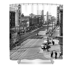 Theater Row - Vancouver Canada - 1951 Shower Curtain by Daniel Hagerman