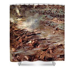 Their Men Advanced In Dense Masses Shower Curtain by Cyrus Cuneo