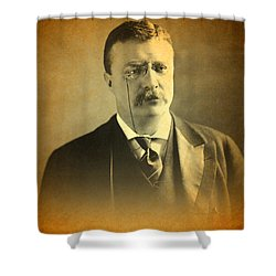 Theodore Teddy Roosevelt Portrait And Signature Shower Curtain by Design Turnpike