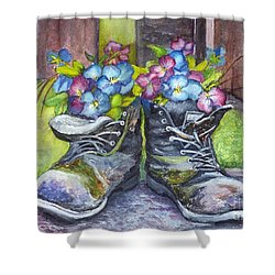 These Boots Were Made For Planting Shower Curtain by Carol Wisniewski