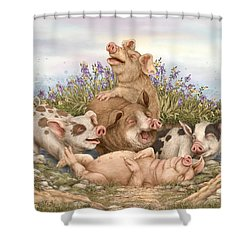 Think Happy Shower Curtain by Beverly Levi-Parker