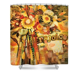This Is The Day To Rejoice Shower Curtain by Jen Norton