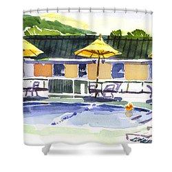 Three Amigos With Orange Beach Ball Shower Curtain by Kip DeVore