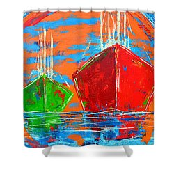 Three Boats Sailing In The Ocean Shower Curtain by Patricia Awapara