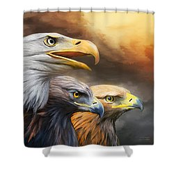 Three Eagles Shower Curtain by Carol Cavalaris