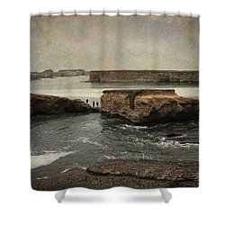 Three Fishermen Shower Curtain by Laurie Search