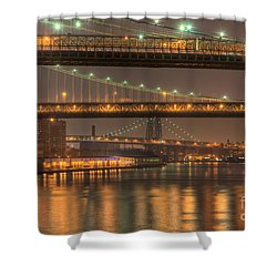 Three New York Bridges Shower Curtain by Clarence Holmes