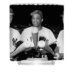 Three Slugging Outfielders Shower Curtain by Underwood Archives