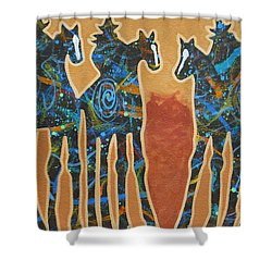 Three With Rope Shower Curtain by Lance Headlee