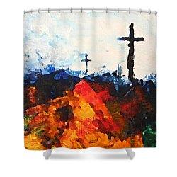 Three Wooden Crosses Shower Curtain by Kume Bryant