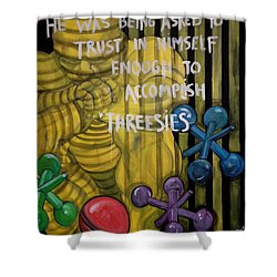 Threesies Shower Curtain by Darlene Graeser