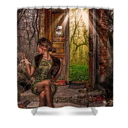 Through The Forest Door Shower Curtain by Erik Brede