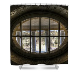 Through The Round Window Shower Curtain by Nathan Wright