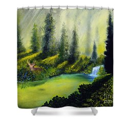 Through The Trees Shower Curtain by David Kacey