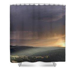 Thunder Shower And Lightning Over Teton Valley Shower Curtain by Leland D Howard