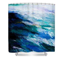 Thunder Tide Shower Curtain by Larry Martin